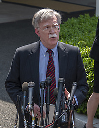 April 30, 2019 - Washington, District of Columbia, U.S. - National Security Advisor John R. Bolton briefs reporters on developments in Venezuela on the North Driveway of the White House in Washington, DC on April 30, 2019.  .Credit: Ron Sachs / CNP (Credit Image: © Ron Sachs/CNP via ZUMA Wire)