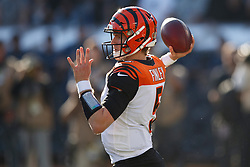 OAKLAND, CA - NOVEMBER 17: Quarterback Ryan Finley #5 of the Cincinnati Bengals passes against the Oakland Raiders during the second quarter at RingCentral Coliseum on November 17, 2019 in Oakland, California. The Oakland Raiders defeated the Cincinnati Bengals 17-10. (Photo by Jason O. Watson/Getty Images) *** Local Caption *** Ryan Finley