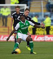 27th August 2017, Dens Park, Dundee, Dundee; Scottish Premier League football, Dundee versus Hibernian; Hibernian's Marvin Bartley and Dundee's Scott Allan