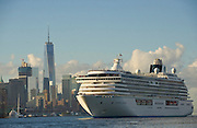 Crystal Serenity arrives in New York after completing its historic 32-day voyage through the legendary Northwest Passage, Friday, Sept. 16, 2016.   Crystal Serenity becomes the first large luxury cruise ship to traverse the Arctic route that connects the northern Atlantic and Pacific oceans.  (Photo by Diane Bondareff/AP Images for Crystal Cruises)