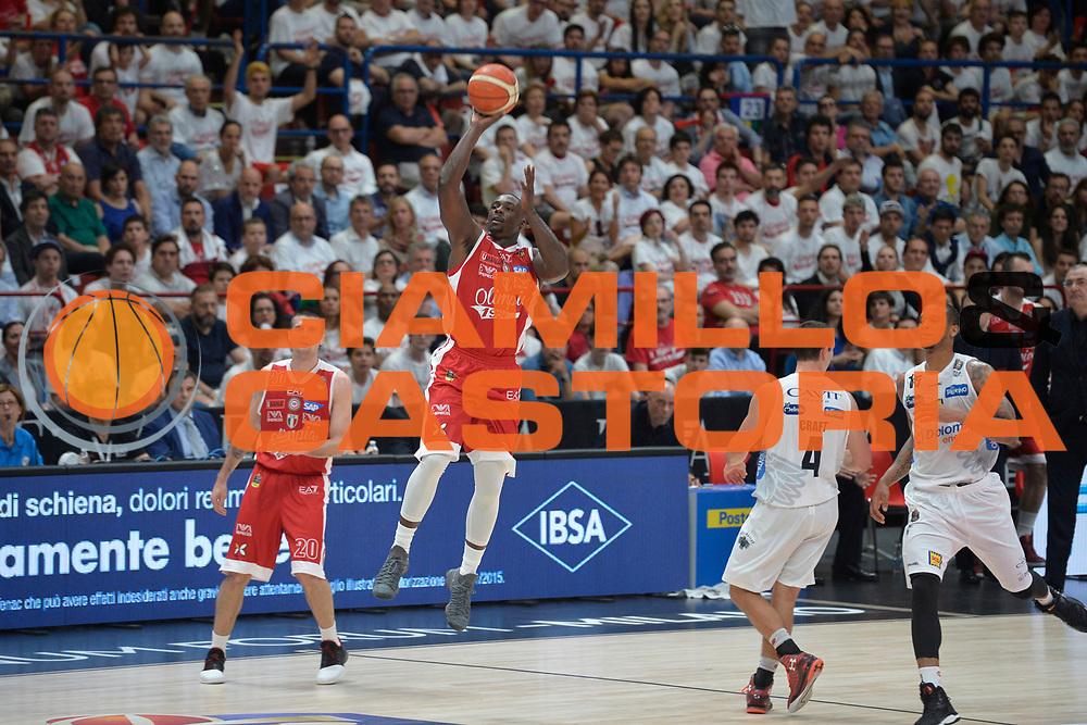 Sanders Rakim<br /> Olimpia EA7 Emporio Armani Milano vs Dolomiti Energia Trentino<br /> Lega A  2016/2017  Semifinale Gara 1<br /> Milano 25/05/2017<br /> Foto Ciamillo-Castoria/I.Mancini<br /> Provvisorio