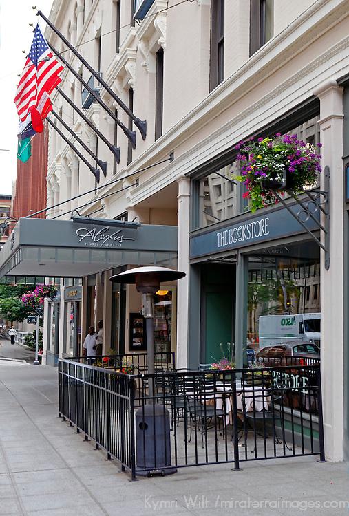 USA, Washington, Seattle. Entrance to the Alexis Hotel in Seattle.