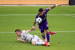 May 6, 2018 - Orlando, FL, U.S. - ORLANDO, FL - MAY 06: Orlando City forward Dom Dwyer (14) goes for the ball during the soccer match between the Orlando City Lions and Real Salt Lake on May 6, 2018 at Orlando City Stadium in Orlando FL. Photo by Joe Petro/Icon Sportswire) (Credit Image: © Joe Petro/Icon SMI via ZUMA Press)