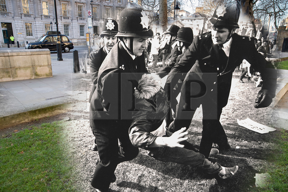 © Licensed to London News Pictures. 25/03/2020. London, UK. In this combined image police detain a protester outside the Ministry of Defence during the London poll tax riots on March 31st 1990 overlaid on the same location today. The protest on the last day of March in 1990 started peacefully when thousands gathered in a south London park to demonstrate against Margaret Thatcher's Government's introduction of the Community Charge - commonly known as the poll tax. Marchers walked to Whitehall and Trafalgar Square where violence broke out with the trouble spreading up through Charring Cross Road and on to the West End. Police estimated that 200,000 people had joined the protest and 339 were arrested. The hated tax was eventually replaced by the Council Tax under John Major's government in 1992.  Photo credit: Peter Macdiarmid/LNP