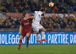 February 3, 2019 - Rome, Italy - Patrick Schick and Ricardo Rodriguez during the Italian Serie A football match between A.S. Roma and A.C. Milan at the Olympic Stadium in Rome, on february 03, 2019. (Credit Image: © Silvia Lore/NurPhoto via ZUMA Press)