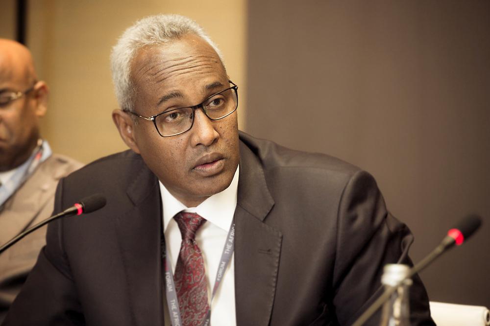 Aboubaker Omar Hadi, Chairman Djibouti Ports&Zones Authority, lors du Groupe de travail Public/Privé, Matinée du 17 mars 2015, Africa CEO Forum 2015