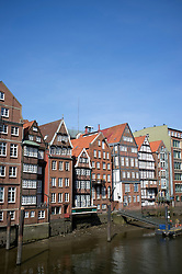 Historic half-timbered houses at Nikolaifleet in Hamburg Germany