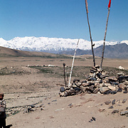 12 April 1976<br /> Kabul. Simpler shrine with pennants for unknown Shaheedan (martyrs).