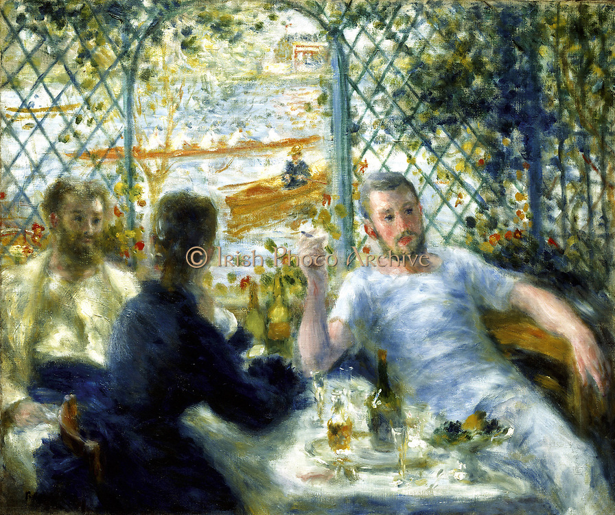 Luncheon at La Fournaise' (The Rowers Lunch), 1875. Oil on canvas. Pierre-Auguste Renoir (1841-1919) French painter. Summer Warmth Relaxation Contentment  Friendship Male Female Trellis  Water River Seine Chatou France