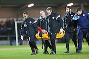 Goalscorer Ryan Seager leaves on a stretcher during the Sky Bet League 1 match between Rochdale and Crewe Alexandra at Spotland, Rochdale, England on 16 February 2016. Photo by Daniel Youngs.