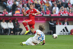 29.03.2014, Allianz Arena, Muenchen, GER, 1. FBL, FC Bayern Muenchen vs TSG 1899 Hoffenheim, 28. Runde, im Bild l-r: im Zweikampf, Aktion, mit Xherdan Shaqiri #11 (FC Bayern Muenchen) und Jannik Vestergaard #29 (TSG 1899 Hoffenheim) // during the German Bundesliga 28th round match between FC Bayern Munich and TSG 1899 Hoffenheim at the Allianz Arena in Muenchen, Germany on 2014/03/29. EXPA Pictures © 2014, PhotoCredit: EXPA/ Eibner-Pressefoto/ Kolbert<br /> <br /> *****ATTENTION - OUT of GER*****