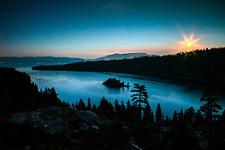 """Emerald Bay at Night 2"" - Photograph of the moon rising over Emerald Bay, Lake Tahoe shortly after sunset."