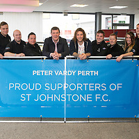 St Johnstone manager Tommy Wright and striker Stevie May last night paid a visit to car dealers Peter Vardy Vauxhall...14.05.14.  Pictured with staff member from left to right, Raemond Charles, Marc Myles, Kris Reid, Alan Cochrane, Dino Leone, Iain Elliott, Scott Timmons, Jody Sievewright, Glenn Smith and Andy Jackson.<br /> Picture by Graeme Hart.<br /> Copyright Perthshire Picture Agency<br /> Tel: 01738 623350  Mobile: 07990 594431
