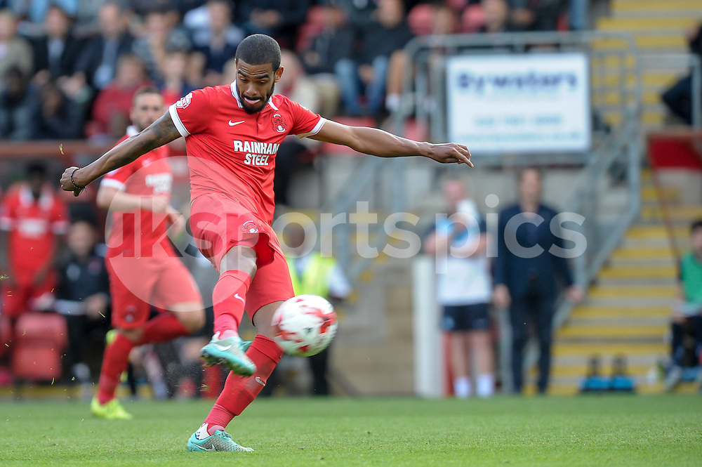 Paul McCallum of Leyton Orient take a shot at goal from distance during the Sky Bet League 2 match between Leyton Orient and Wycombe Wanderers at the Matchroom Stadium, London, England on 19 September 2015. Photo by Salvio Calabrese.