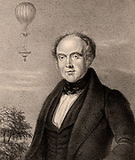 Edward Spencer (b1799) English lawyer who accompanied the balloonist Charles Green on many ascents.  On 24 July 1837 a balloon piloted by Green and Spencer rose from Vauxhall Gardens, London.  The painter and amateur scientist Robert Cocking ascended with them to test his new parachute. At 5,000 ft (1,524 m) Cocking left the balloon and began his fatal parachute jump.  Lithograph 1839.