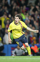 Lionel Messi of Barcelona celebrates after Barcelona score in the final minute  during the UEFA Champions League Semi Final Second Leg match between Chelsea and Barcelona at Stamford Bridge on May 6, 2009 in London, England.