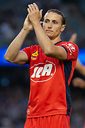 Adelaide United defender Michael Marrone (2) cheers the fans at the Hyundai A-League Round 7 soccer match between Melbourne Victory v Adelaide United at Marvel Stadium in Melbourne, Australia.