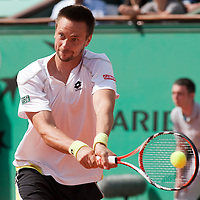 5 June 2009: Robin Soderling of Sweden eyes the ball hits the ball during the Men's Singles Semi Final match on day thirteen of the French Open at Roland Garros in Paris, France.