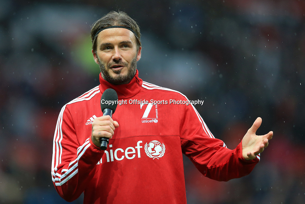 14th November 2015 - Charity Football - UNICEF Match For Children - GB & Ireland XI v World XI - David Beckham speaks to the crowd before the match - Photo: Simon Stacpoole / Offside.