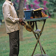 A hawker selling Ram Ladoo in Lodi garden, New Delhi