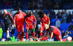 Martin Skrtel of Liverpool warms up with his team mates - Mandatory byline: Matt McNulty/JMP - 07966 386802 - 04/10/2015 - FOOTBALL - Goodison Park - Liverpool, England - Everton  v Liverpool - Barclays Premier League