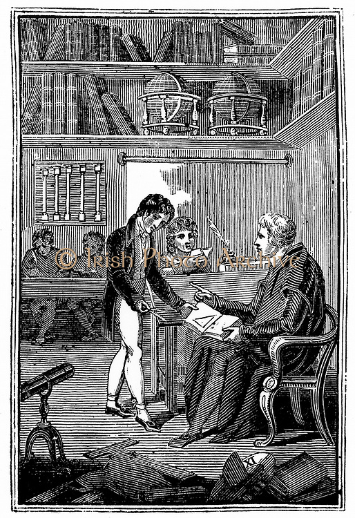 Schoolmaster and pupils. A boy is showing his geometry exercise to the master. Frontispiece of George Fisher 'The Instructor: or, Young Man's Best Companion' London, c1820. Woodcut