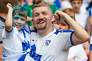 Tranmere Rovers fans celebrate after the EFL Sky Bet League 2 Play Off Final match between Newport County and Tranmere Rovers at Wembley Stadium, London, England on 25 May 2019.