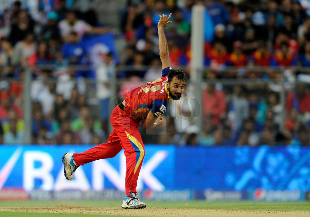Harshal Patel of Royal Challengers Bangalore bowls during match 46 of the Pepsi IPL 2015 (Indian Premier League) between The Mumbai Indians and The Royal Challengers Bangalore held at the Wankhede Stadium in Mumbai, India on the 10th May 2015.<br /> <br /> Photo by:  Pal Pillai / SPORTZPICS / IPL
