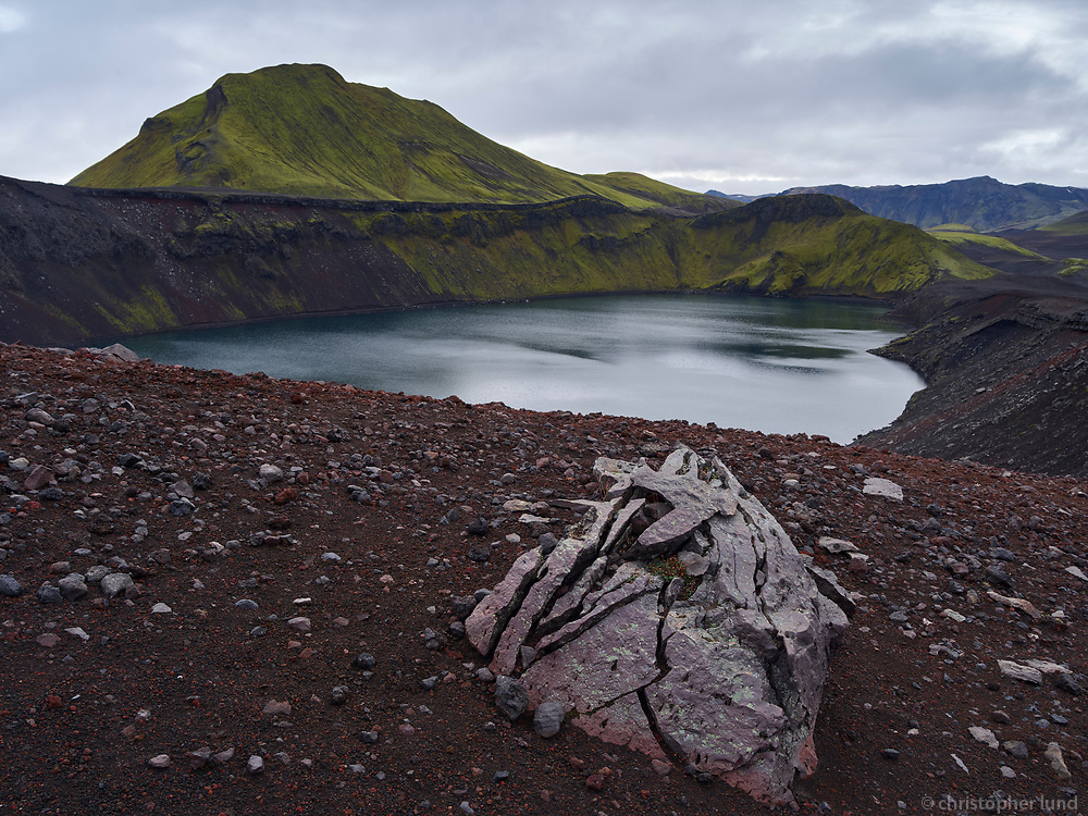 Hnausapollur - also named Bláhylur, Crater Lake, Central Highlands of Iceland.