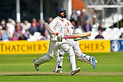 Batsmen Haseeb Hameed of Lancashire and Alex Davies of Lancashire running between the wickets during the Specsavers County Champ Div 1 match between Somerset County Cricket Club and Lancashire County Cricket Club at the Cooper Associates County Ground, Taunton, United Kingdom on 14 September 2017. Photo by Graham Hunt.