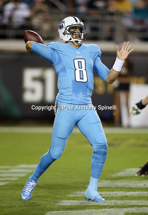 Tennessee Titans quarterback Marcus Mariota (8) throws a pass during the 2015 week 11 regular season NFL football game against the Jacksonville Jaguars on Thursday, Nov. 19, 2015 in Jacksonville, Fla. The Jaguars won the game 19-13. (©Paul Anthony Spinelli)