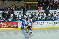 KELOWNA, CANADA - FEBRUARY 24:  Leif Mattson #28 of the Kelowna Rockets celebrates a goal against the Kamloops Blazers on February 24, 2018 at Prospera Place in Kelowna, British Columbia, Canada.  (Photo by Marissa Baecker/Shoot the Breeze)  *** Local Caption ***
