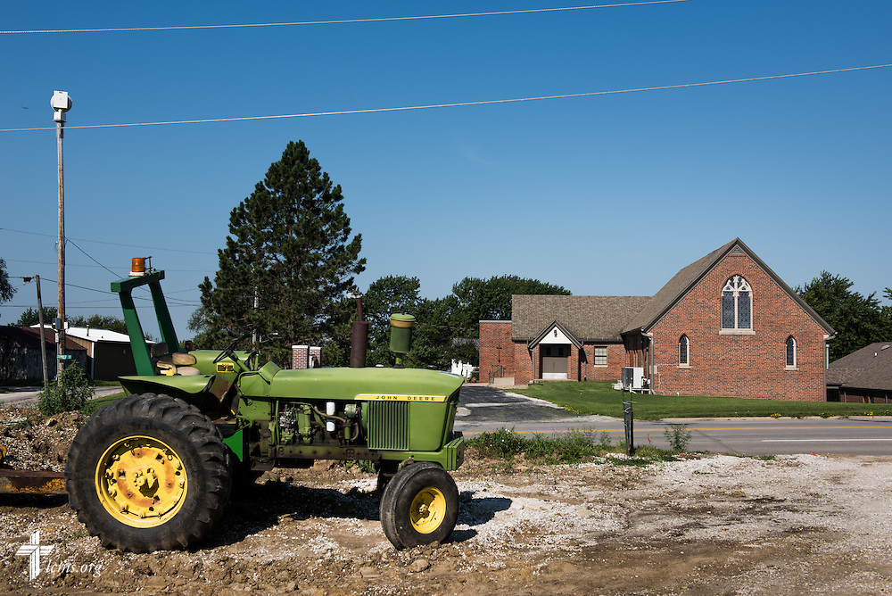 A tractor is parked across the street of Trinity Lutheran Church on Saturday, Aug. 15, 2015, in Creston, Iowa. LCMS Communications/Erik M. Lunsford