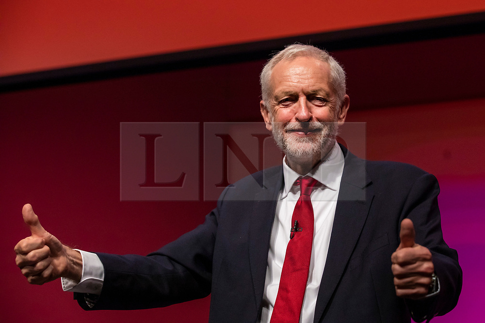 © Licensed to London News Pictures. 26/09/2018. Liverpool, UK. Labour Party Leader Jeremy Corbyn MP gives two thumbs up after his speech at the end of the Labour Party Conference. Photo credit: Rob Pinney/LNP