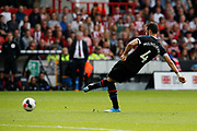 Luka Milivojevic of Crystal Palace passes the ball during the Premier League match between Sheffield United and Crystal Palace at Bramall Lane, Sheffield, England on 18 August 2019.
