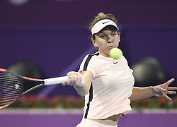 DOHA, Feb. 14, 2018  Simona Halep of Romania returns the ball during the single's second round match against Ekaterina Makarova of Russia at the 2018 WTA Qatar Open in Doha, Qatar, on Feb. 14, 2018. Simona Halep won 2-0.   wll) (Credit Image: © Nikku/Xinhua via ZUMA Wire)