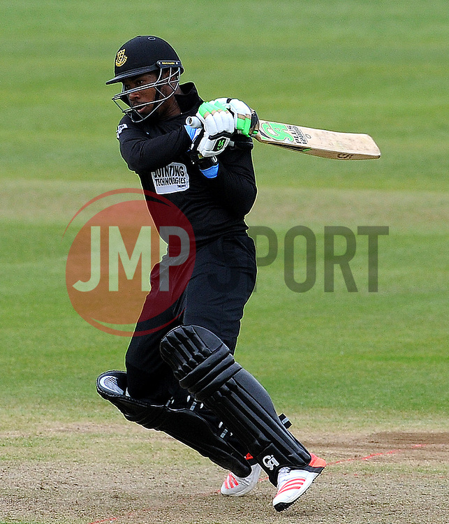 Sussex's Chris Jordan pulls the ball. Photo mandatory by-line: Harry Trump/JMP - Mobile: 07966 386802 - 22/05/15 - SPORT - CRICKET - Natwest T20 Blast - Somerset v Sussex Sharks - The County Ground, Taunton, England.