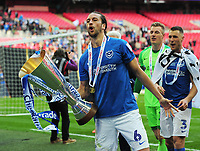 Football - 2019 EFL Checkatrade Trophy Final - Sunderland vs. Portsmouth<br /> <br /> Christian Burgess of Portsmouth with the trophy, at Wembley.<br /> <br /> COLORSPORT/ANDREW COWIE