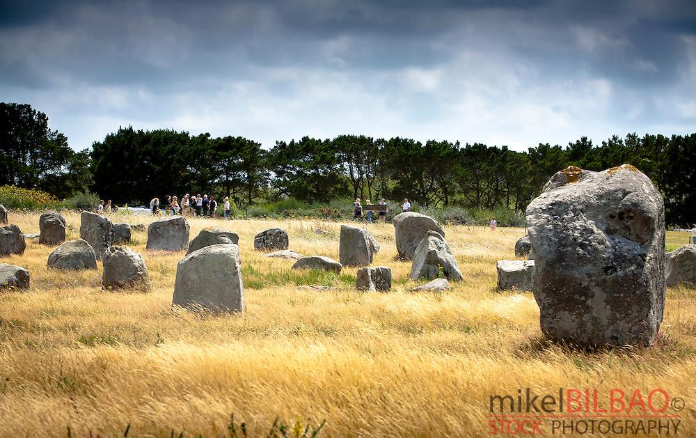Carnac stones. Carnac village. Morbihan, Brittany, France, Europe.