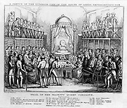The House of Lords during the trial  of Queen Caroline in 1820. The Queen is seated centre right. Caroline of Brunswick-Wolgenbuttel (1768-1811), consort of George IV of Great Britain and Ireland.