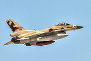 "Israeli Air Force (IAF) General Dynamics F-16C in flight.  Photographed at the  ""Blue-Flag"" 2017, an international aerial training exercise hosted by the Israeli Air Force (IAF) at Ouvda airfield, Israel. November 2017"