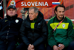 Head coach of Slovenia Matjaz Kek,  Milan Miklavic and Nihad Pejkovic during the 2010 FIFA World Cup South Africa Group C match between Slovenia and USA at Ellis Park Stadium on June 18, 2010 in Johannesberg, South Africa. (Photo by Vid Ponikvar / Sportida)