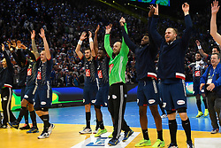 Frenvh team celebrate after 25th IHF men's world championship 2017 match between France and Slovenia at Accord hotel Arena on january 24 2017 in Paris. France. PHOTO: CHRISTOPHE SAIDI / SIPA / Sportida