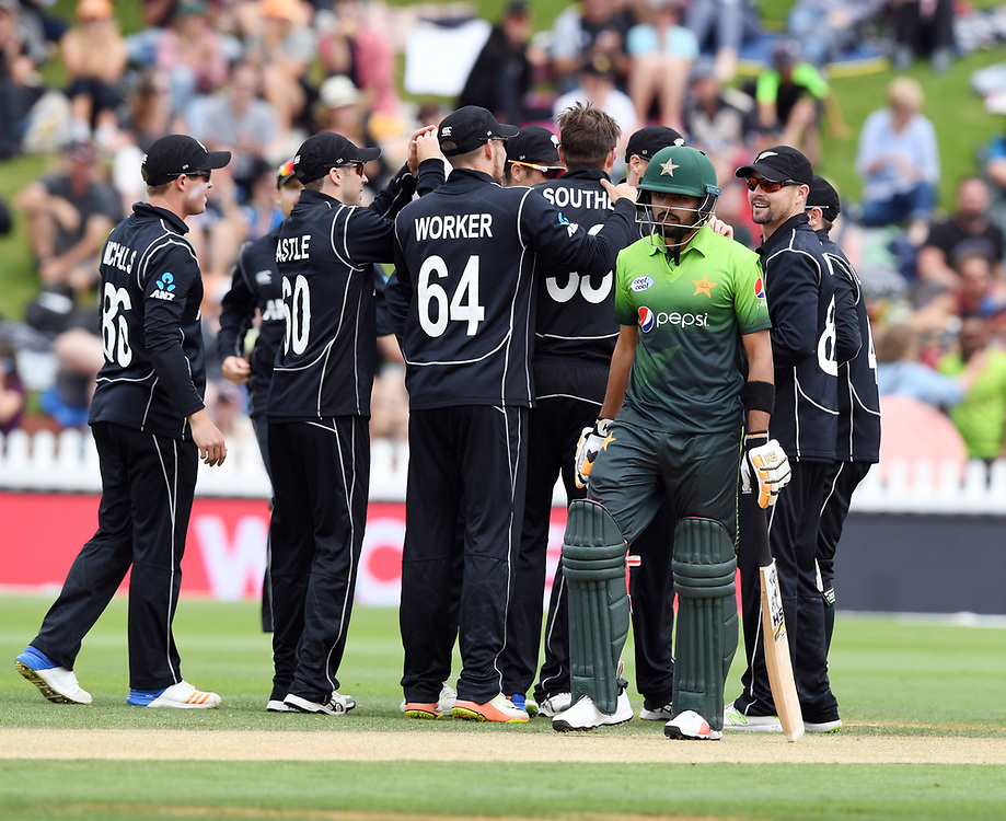 Pakistan's Babar Azam walks, out for 0 lbw to New Zealand's Tim Southee in the first one day cricket international at the Basin Reserve, Wellington, New Zealand, Saturday, January 06, 2018. Credit:SNPA / Ross Setford  **NO ARCHIVING**