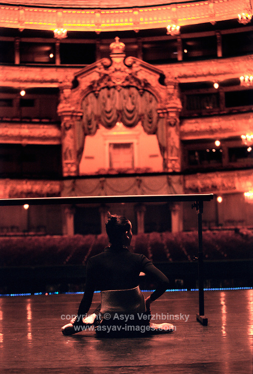 Isabel MacMeekan on stage of the Mariinsky Theatre before a performance,St. Petersburg, Russia