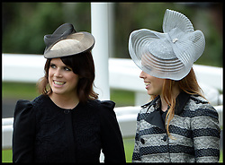 Princesses Beatrice and Eugenie Talks to The Duchess of Cornwall at the Opening day of Royal Ascot 2013 Ascot, United Kingdom<br /> Tuesday, 18th June 2013,<br /> Picture by Andrew Parsons / i-Images