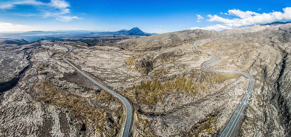 Aerial photograph of Mts. Ngauruhoe & Ruapehu, Tongariro National Park's volcanoes, N. Island, New Zealand