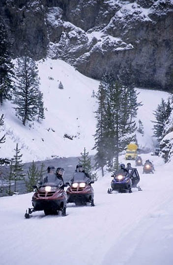 Yellowstone National Park, Snowmobiling in park.