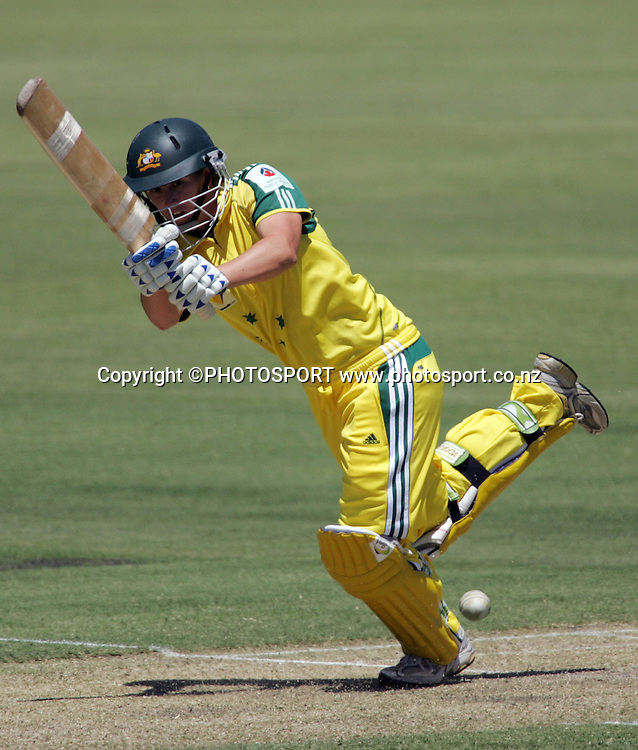 Australia's Michelle Goszko in action during the first ODI Rose Bowl cricket match between the White Ferns and Australia at Allan Border Field, Brisbane, Australia, on Friday 20 October 2006. Australia won the match by 2 with a total of 201. Photo: Renee McKay/PHOTOSPORT<br /><br /><br />201006