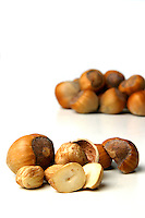 Studio shot of hazlenuts on white background